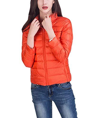 Mujer Pluma Fashion Ultraligero Talla Grande Chaqueta De Temporada Elegantes Manga Larga Stand Cuello Slim Fit Lindo Chic Casual Unicolor Termica Plumas Abrigos Invierno Naranja
