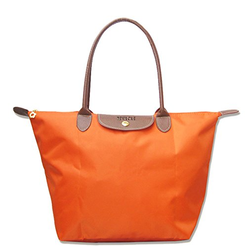 BEKILOLE Women's Stylish Waterproof Tote Bag Nylon Travel Shoulder Beach Bags-Orange Color - Large Size