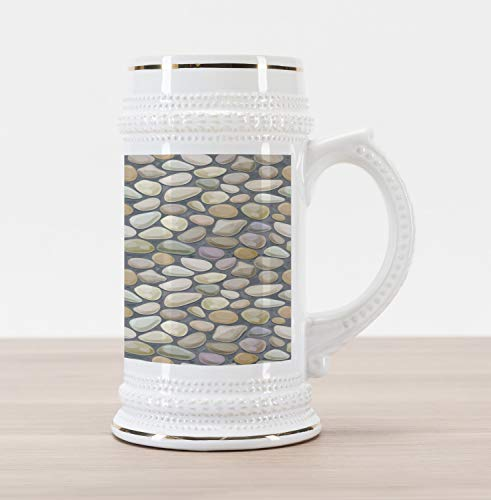 (Ambesonne Cobblestone Beer Stein Mug, Pebble Stonewall Graphic Illustration Soft Pastel Color Wet Looking Rubbles, Traditional Style Decorative Printed Ceramic Large Beer Mug Stein, Multicolor)