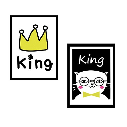 Mirror Art Photo (Self-Adhesive Wall Decals with Black Frame for Nursery Kids Room, Print Picture Wall Sticker Cute Baby Room Decor, King Cat Crown Modern Art Home Decorations for Mirror Door, Set of 2)