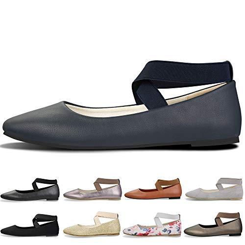 (Women's Classic Round Toe Ballerina Walking Slip On Suede Flats - Comfortable Closed Toe Ballet (9-9.5 B(M) US/ CN41 / 10'', Navy Blue))