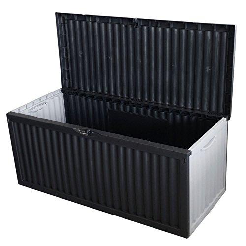 Auflagenbox Gartenbox Kunststoff / 350L / 120x52xH54cm Gartenbox Gartentruhe Kissenbox für Polsterauflagen Aufbewahrungsbox Aufbewahrungskiste Auflagentruhe Grau