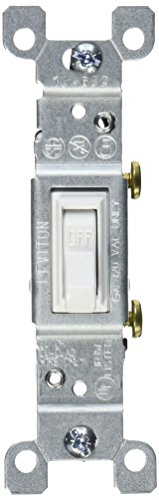 Leviton 1451-WCP 15-Amp, 120-Volt, Toggle Framed Single-Pole AC Quiet Switch, Residential Grade, Non-Grounding, White (15 White Single Light)