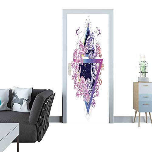 Glass Door Sticker Decals Flowers Art Nouveau in a Triangle Tattoo Art Graceful Flowers in Mystical Triangle t-Shirt Design Symbol of Art Freedom Astronomy Mysterious Knowledge tattoo1 Sticker for do