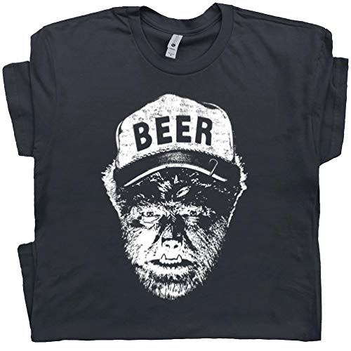 XXL - Werewolf Wolfman Beer T Shirt Funny Tee Vintage Graphic 80s Horror Movie Tshirt The Pong Alcohol Black