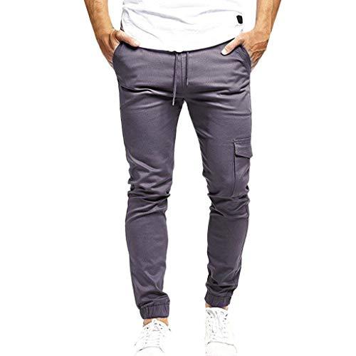 - ZEFOTIM Pants for Men Fashion Slim Pure Color Casual Bandage Casual Sweatpants Drawstring Pant(Gray,X-Large)