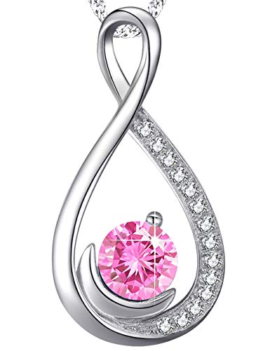 Love Infinity and Moon Jewelry Gifts for Wife Women Pink Tourmaline Pendant Necklace Anniversary Birthday Gifts for Her Daughter Grandma Sterling Silver Swarovski, 18