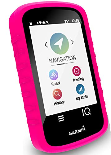 (Tuff-luv Silicone Gel Skin Case Cover for Garmin Edge Explore (with Screen Protection) - Pink)