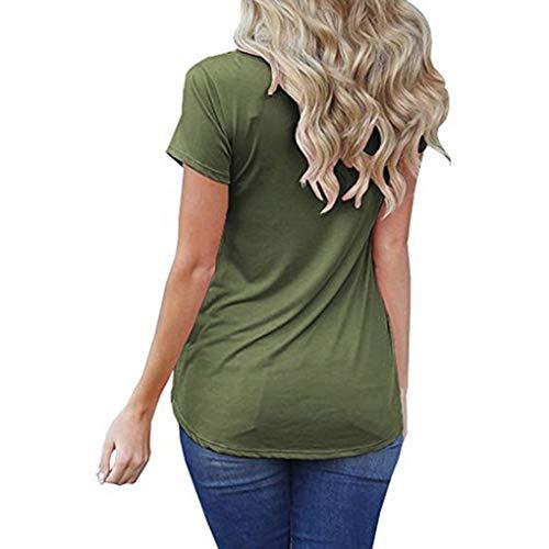 Occasionnels verte T arme O Poche T Loose Shirt Solides Femmes d't Masterein Haut Shirts Manches de Cou Courtes xnqfaZFT