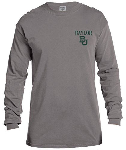 NCAA Baylor Bears Vintage Poster Long Sleeve Comfort Color Tee, (Baylor Colors)