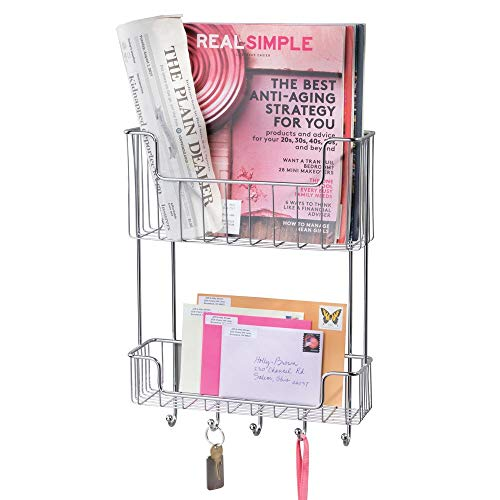 mDesign Large Metal Wire Wall Mount Mail, Letter, Magazine Holder, Storage Organizer Rack with Hooks for Entryway, Hallway, Mudroom, 2-Tier - Chrome (Chrome Walls Letters For)