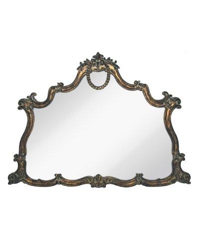 Georgette Mirror - Majestic Mirrors Georgette Mantle Mirror, Antique Bronze/Black, 43