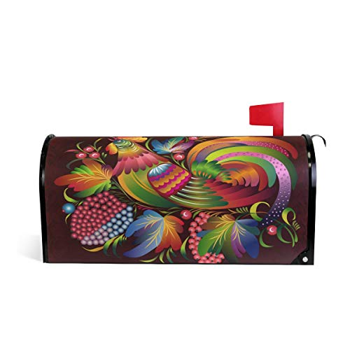 ZZKKO Rooster Magnetic Mailbox Cover Wrap Standard Size 20.8 x 18 Inch