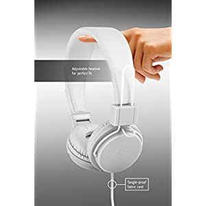 Polaroid PHP8500WH Stereo Headphones With Microphone, Fordable, Tangle-Proof, Compatible With All Devices