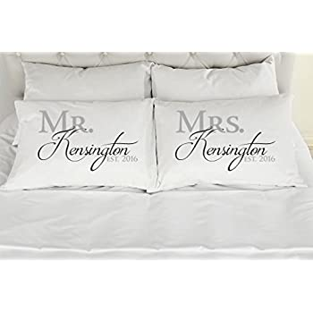 Amazon.com  Set of 2 King Personalized Couples Pillow Cases 2cac8fb9c