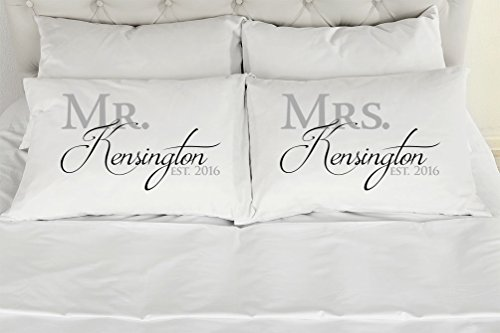 Set of 2 King Personalized Couples Pillow Cases, Mr. Mrs. Printed Pillowcases, Wedding Gift, Anniversary, Bridal Shower Gift (Personalized Bedding Sets)