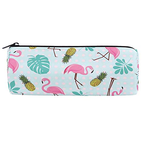Tropical Palm Leaves Flamingo Pineapple Pencil Bag Case Pouch Box for Kids Girls Boys,Summer Funny Animal Pencil Bags Holder School Supplies with Zipper Organizer for Student Teens ()