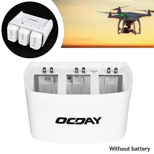Price comparison product image OCDAY White 3 in 1 3 Port Battery Dock Battery Charger for DJI Phantom 2 3 Intelligent charging management,  capable of automatically charging up to three batteries.