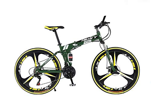 "Ibiky 26"" MTB Folding Dual Suspension 21 Speed Shimano Gears Mountain Bike (Green)"