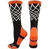 MadSportsStuff Crew Length Elite Basketball Socks with Net (Black/Orange, Medium)