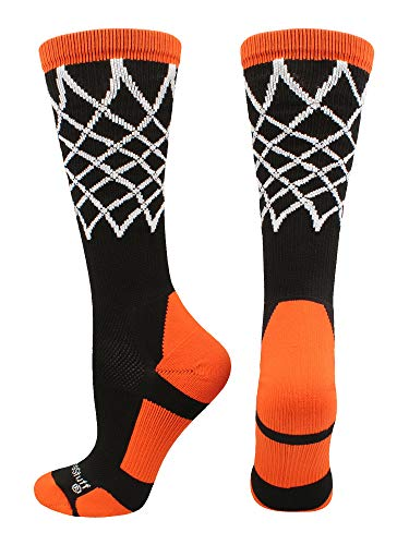 MadSportsStuff Crew Length Elite Basketball Socks with Net (Black/Orange, Large)