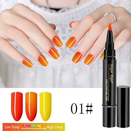 Wffo 1 Pc 3 In 1 Step Nail Gel Pen One Step Nail To Use UV Temperature Change Gel (Orange) -