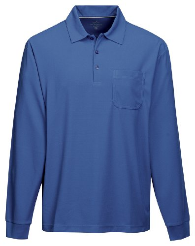 Tri Mountain Mens 100  Polyester Knit L S Golf Shirt   Royal   Xx Large
