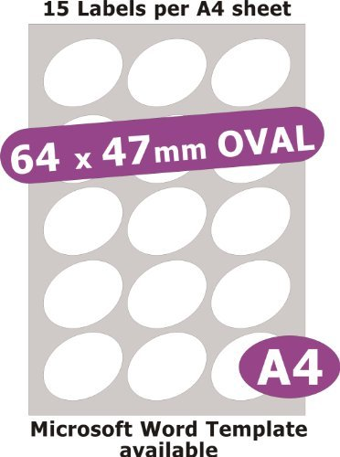 Minilabel 64X47mm Oval , 75 Labels , Gloss Paper Laser , 5 A4 Sheets , Laser Printer Stickers ()