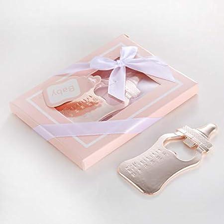 Diamond Found Abridor de botellas de cerveza con forma de botella de lactancia, herramienta de cocina para baby shower, bodas, regalos, regalos de recuerdo (oro rosa, paquete rosa)