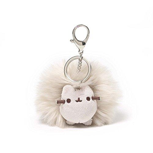GUND Pusheen Cat Plush Pom Poof Keychain, Gray, 4