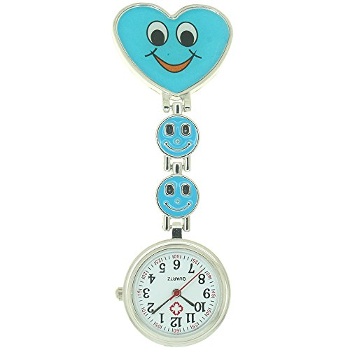 Medical Nurse Pocket Watch Japan Quartz Movement Brooch Smiling Heart Design Pendant Pocket Watches ()