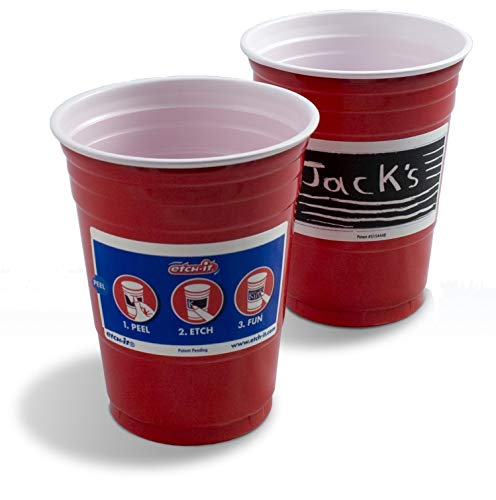 Etch-it Disposable Write-On Party Cups - 18 oz - Pack of 48 Cups - Red