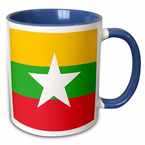 3dRose InspirationzStore Flags - Flag of Myanmar Burma - Burmese yellow green red stripes with white star - Asia country world flags - 15oz Two-Tone Blue Mug (mug_158288_11)