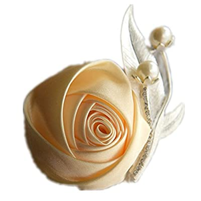 Boutonniere Corsage Pearl Silk Rose Brooch For Wedding Prom Party Dress Accessories