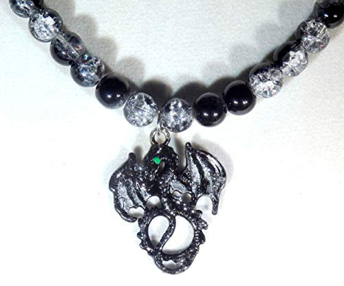 Black and Silver Stardust Dragon and Black Crystalline Glass Beaded Necklace (1490)