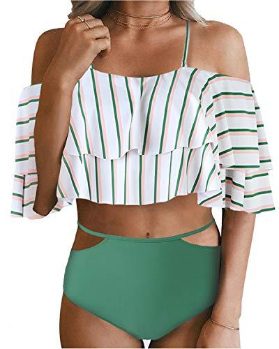 Tempt Me Women Two Piece Swimsuit Off Shoulder Ruffled Flounce Crop Top Bikini with Cutout Bottom Set Green Stripe S ()