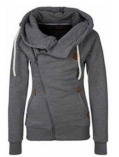 Juicy Trendz Womens Moda Casual Selves Long Zip Hoodie Chaqueta con capucha Top Sudadera Charcoal