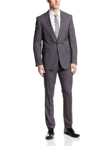 Pin Dot Suit Jacket (Kenneth Cole REACTION Men's 2 Button Side Vent Pin Dot Suit, Black/White, 46 Long)
