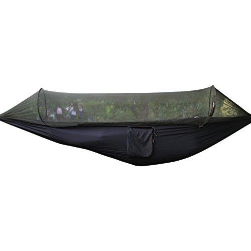 Traveler Hangematte fur 1 Personen Camping Parachute Bed Garten Hängematte mit Moskitonetz Hängezelt(Black)