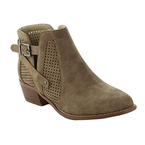 Yoki Womens Ankle High Side Slits Classic Buckled Transitional Low Heel Booties Catalina-107 Suede Boots (8.5, (Low Bootie)