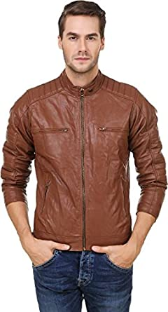 65ed0cba5a9d Garmadian Brown Pu Leather Jacket for Men