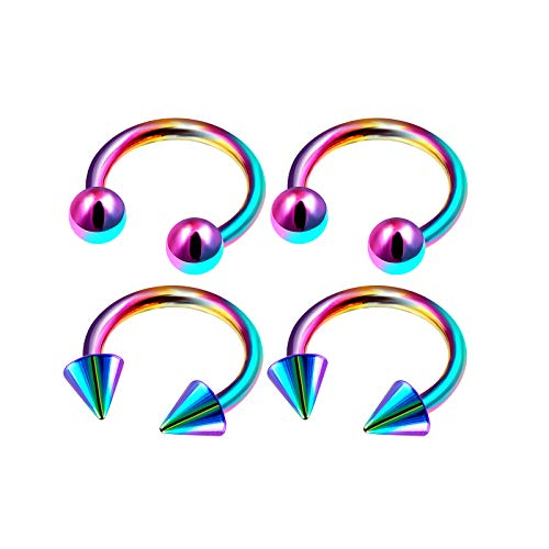 4Pcs Rainbow Anodized 1/4 6mm 16 g Horseshoe Ring Piercing Jewelry Cartilage Rook Daith Eyebrow Septum 3mm Ball Cone M4947 ()