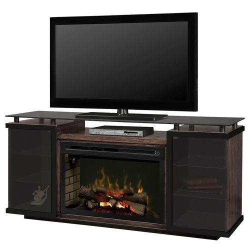 Dimplex Aiden Electric Fireplace TV Stand with Logset in Peppercorn by Dimplex