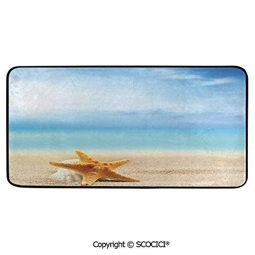 Rectangle Rugs for Bedside Fall Safety, Picnic, Art Project, Play Time, Crafts, Large Protective Mat, Thick Carpet,Starfish Decor,Scallop Seashell and Starfish Close Up on Sandy Beach,39