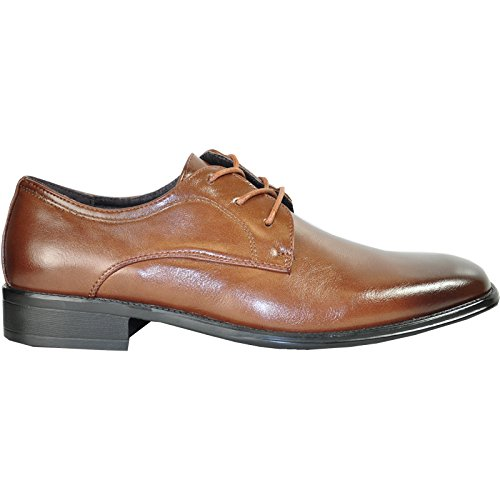 Bravo Men Dress Scarpa Milano-4 Classic Oxford Con Punta Tinta Unita E Fodera In Pelle Marrone