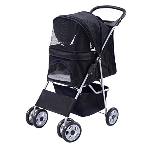 Pet Stroller Cat Dog Folding Cart Carrier Jogger Travel Four Wheel (Black)