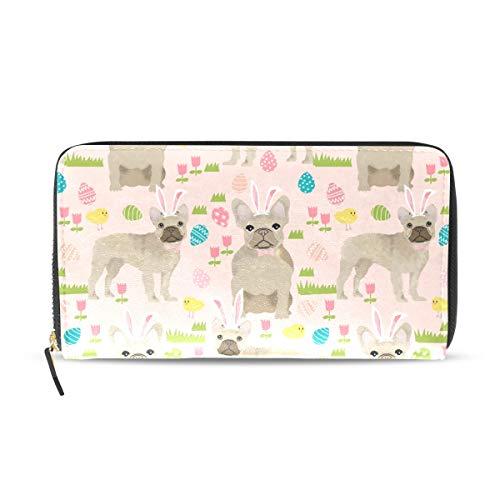 Wallet Clutch French Bulldog Cute Beige - Card Cases Money Organizers, CuiLL PU Leather Handbag for Men Women