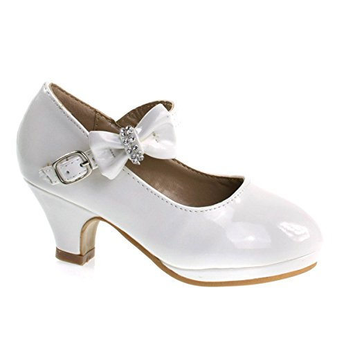 Forever Link Children Girl Rhinestone Round Toe Mary-Jane Dress Pump w Platform White ()