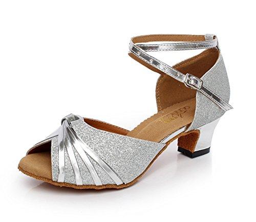 JSHOE Chaussures De Danse Latine Paillettes Femmes Salsa/Tango/Thé/Samba/Moderne/Chaussures De Jazz Sandales Talons Hauts,Silver-heeled6cm-UK7/EU41/Our42
