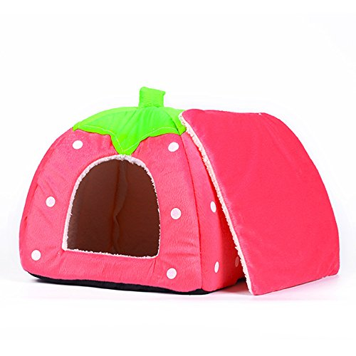 Spring Fever Small Big Animal Strawberry Guinea Pigs Rabbit Dog Cat Puppy Pet Fleece House Indoor Water Resistant Beds C Pink XS
